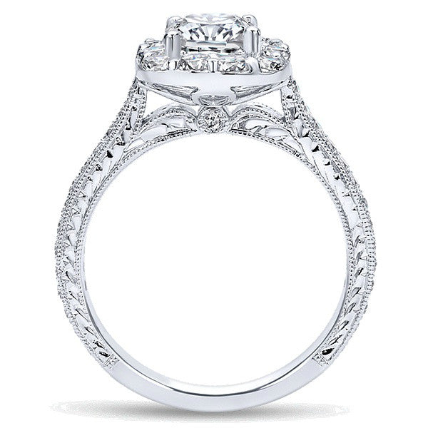1.75 ctw Cushion Cut Diamond & Halo Vintage Engagement Ring