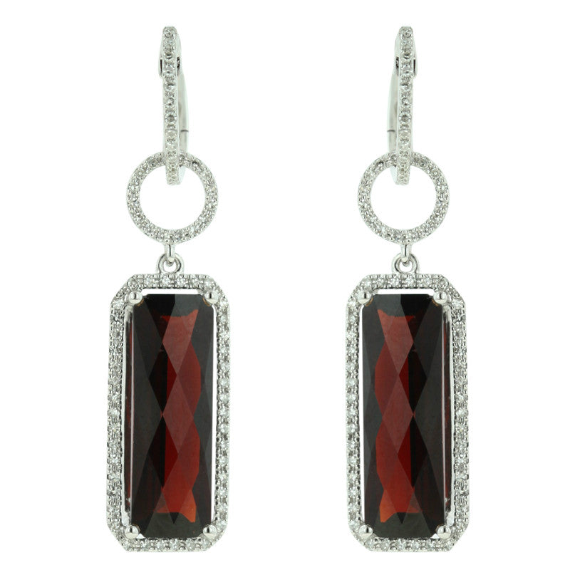 Red Garnet & Diamond Halo Earrings