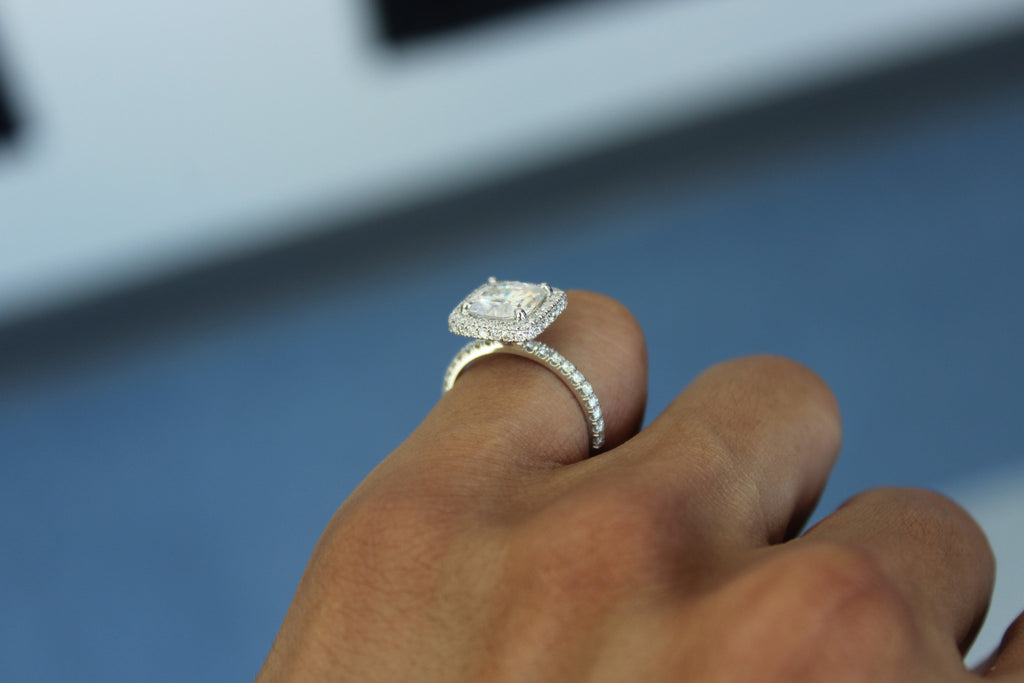 7.5mm (2.2 Carat) Cushion Forever One Moissanite & Diamond Pave Double Sided Halo Engagement Ring