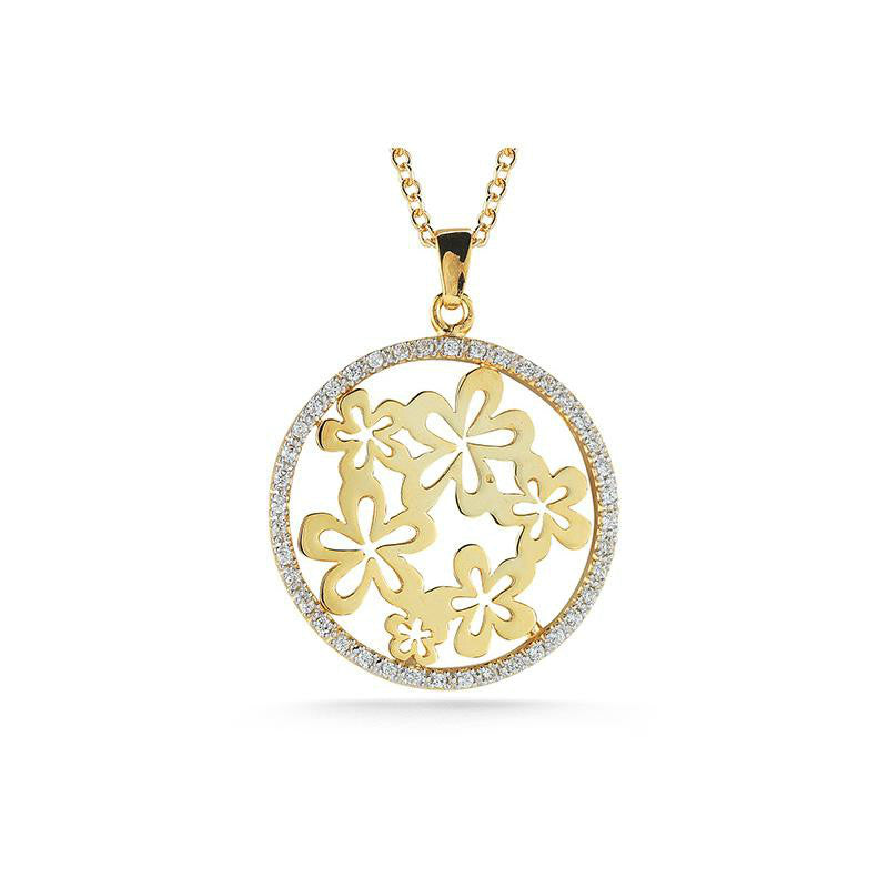 Diamond Round Floral Motif Pendant Necklace