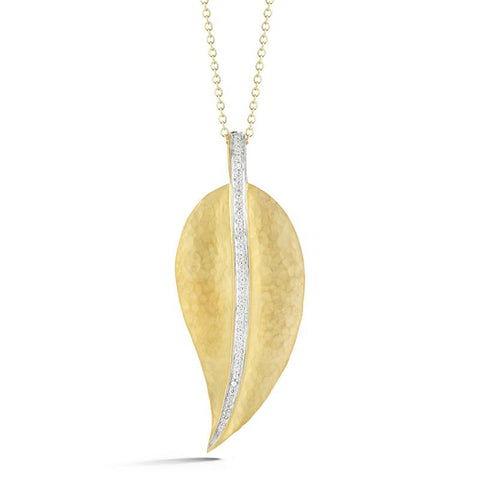 Diamond Leaf Pendant 14k Yellow Gold