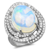 7 Carat Opal & Diamond Swirl Halo Ring