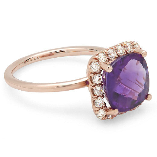 Cushion Amethyst & Diamond Halo Ring