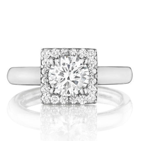 1 Carat Forever One Moissanite & Diamond Square Halo Ring