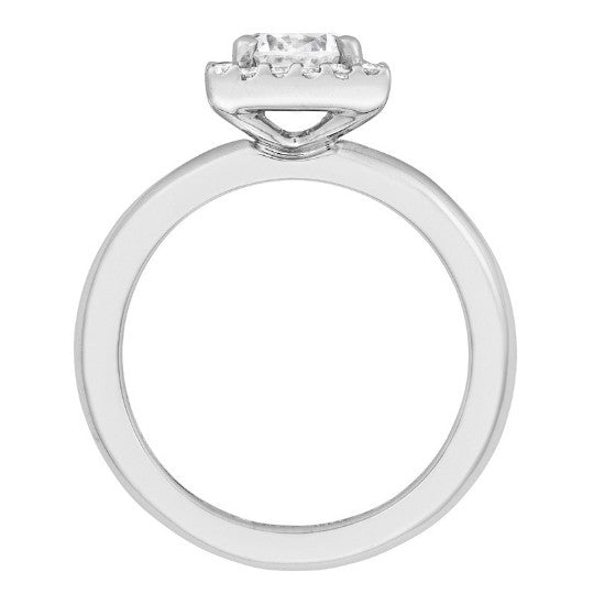 GIA Round Diamond & Diamond Square Halo Ring