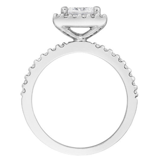 GIA Certified 0.50 ct Princess Diamond & Diamond Halo Ring