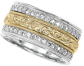 10mm Diamond Filigree Wedding Band