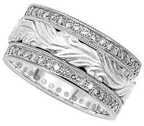 10mm Diamodn Filigree Wedding Band