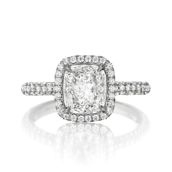 3.20 Carat Pillow Cut Cushion Moissanite & Diamond Pave Ring