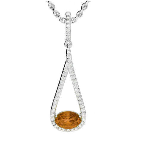 2 Carat Citrine & Diamond Drop Pendant