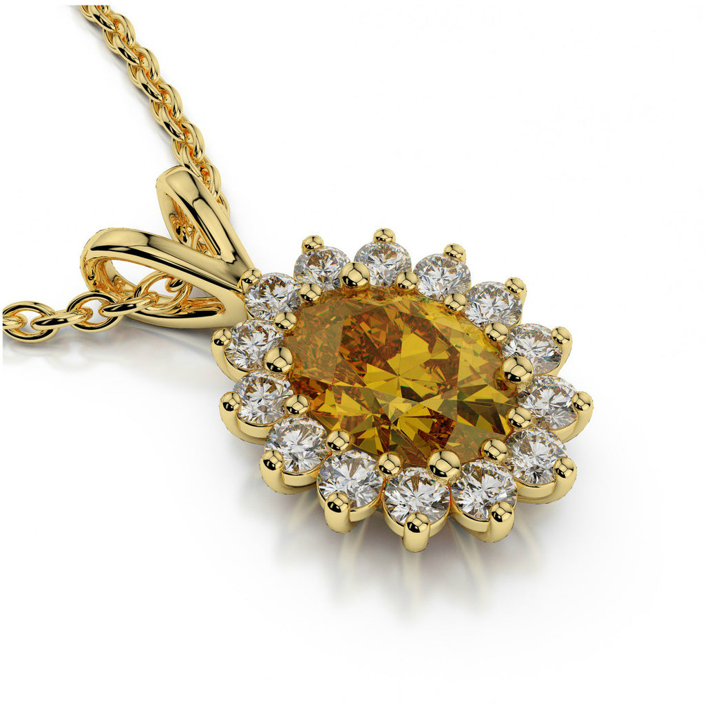 Oval Citrine & Diamond Halo Pendant