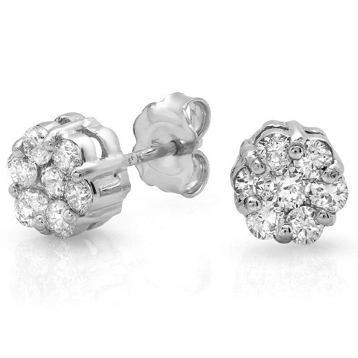 1.40 Carat Forever Brilliant Moissanite Cluster Stud Earrings