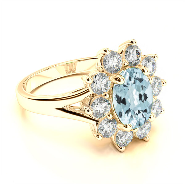 Aquamarine & Diamond Halo Split Shank Ring