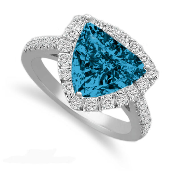 10mm Trillion London Blue Topaz & Diamond Ring