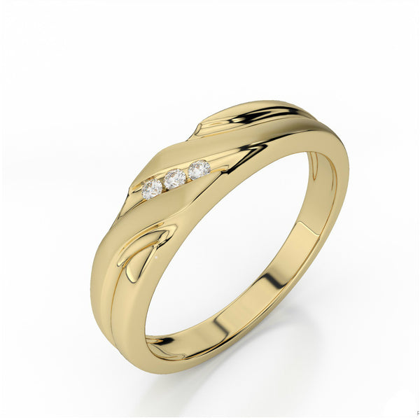 0.11 Carat Diamond Men's Ring 14k Yellow Gold