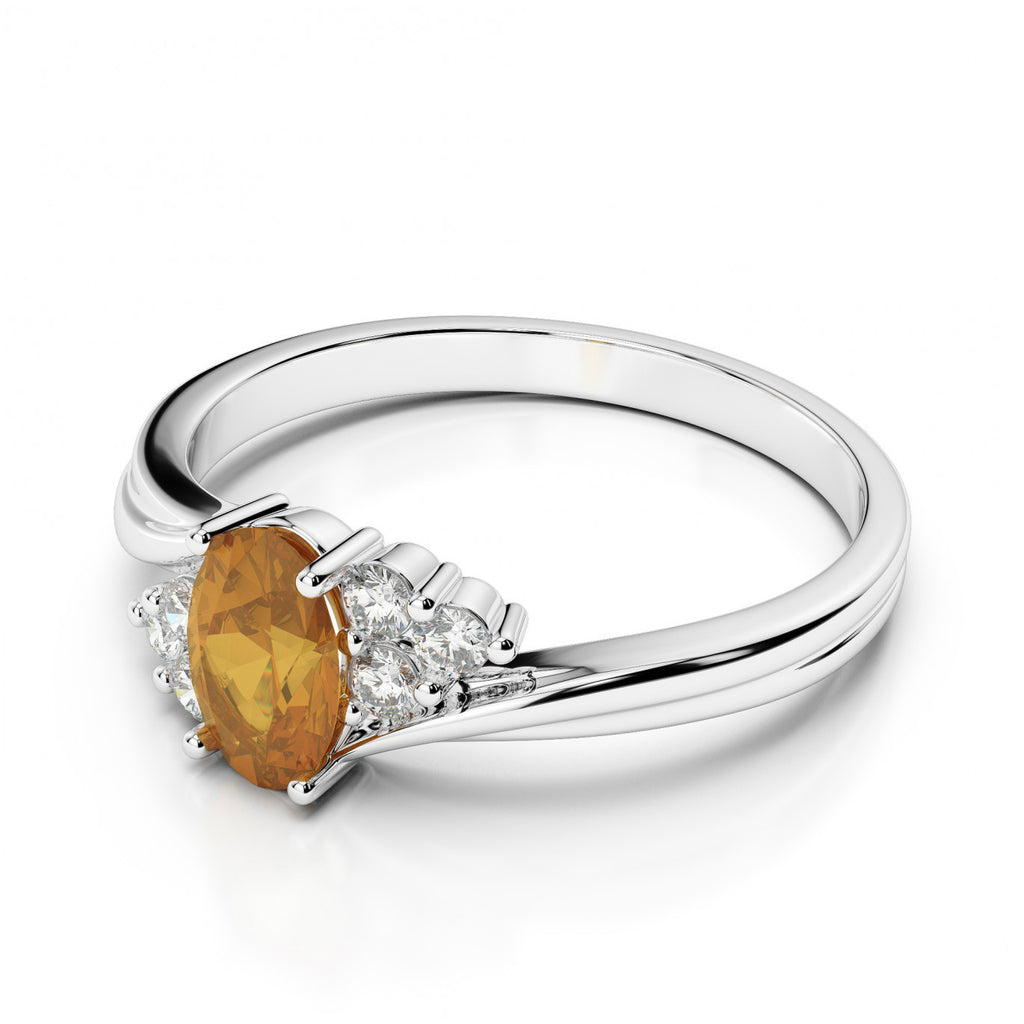 Oval Citrine & Diamond Cluster Ring