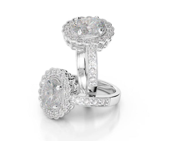 0.50 Carat Oval Diamond & Halo Engagement Ring