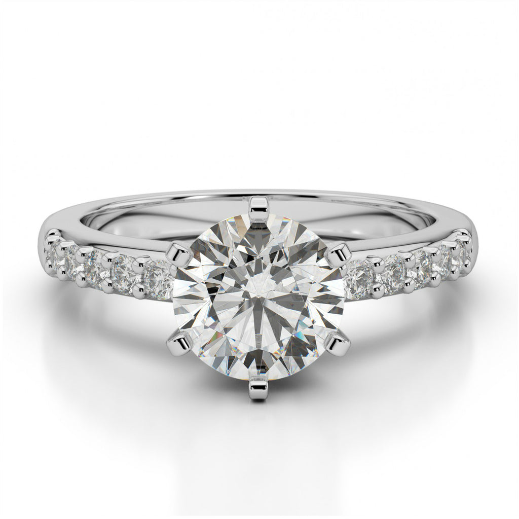 Forever One Moissanite & Diamond Solitaire Ring