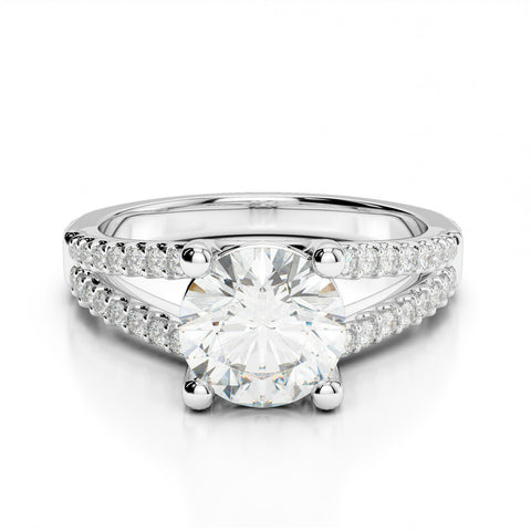 1 Carat Forever One Moissanite &  Diamond Split Shank Ring