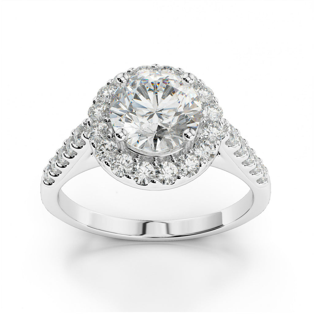 2 Carat Forever One Moissanite & Diamond Halo Ring