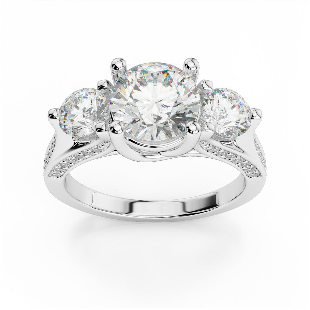 Forever One Moissanite & Diamond Three Stone Ring