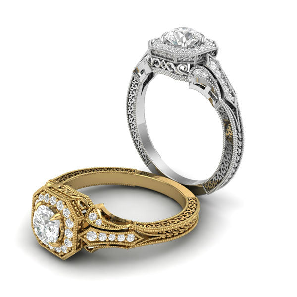 0.80 Carat Diamond & Halo Vintage Ring