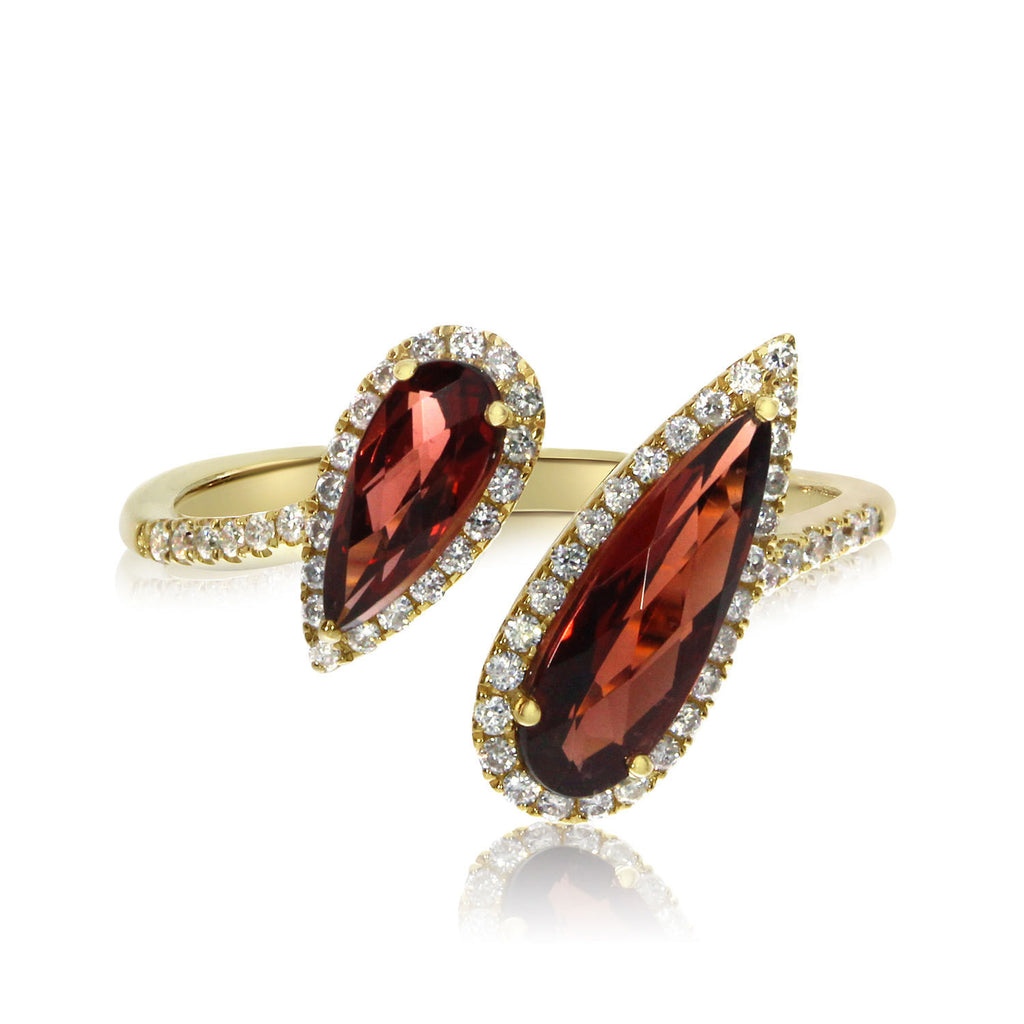 Pear Garnet & Diamond Halo Fashion Offset Ring