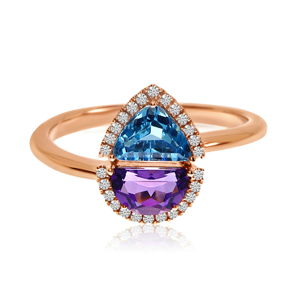 Half Moon Amethyst and Trillion Blue Topaz Ring