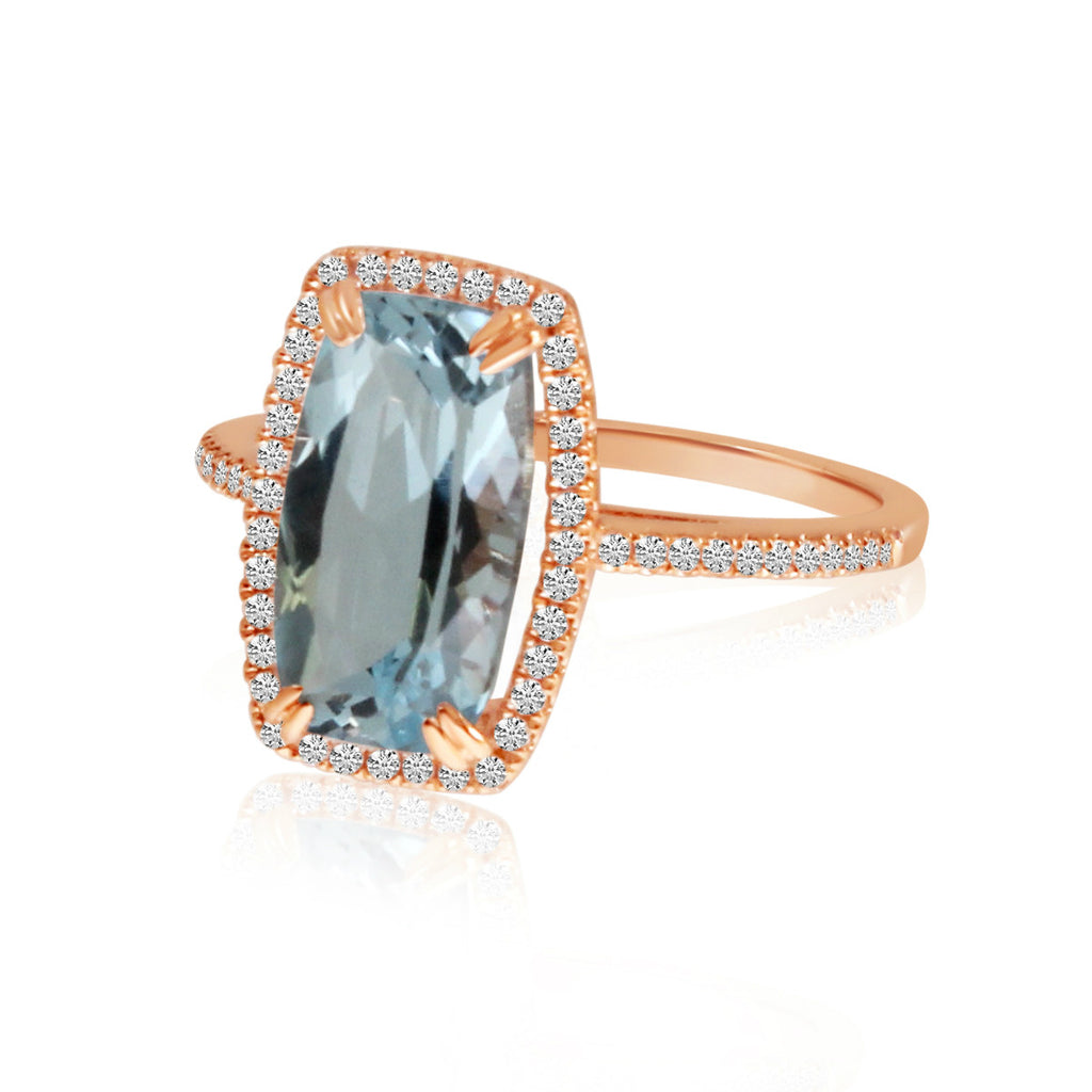 12x6 Octagon Cushion Blue Topaz and Diamond Ring