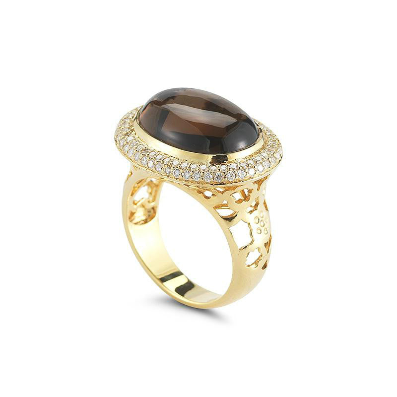 Smoky Topaz & Diamond Pave Ring