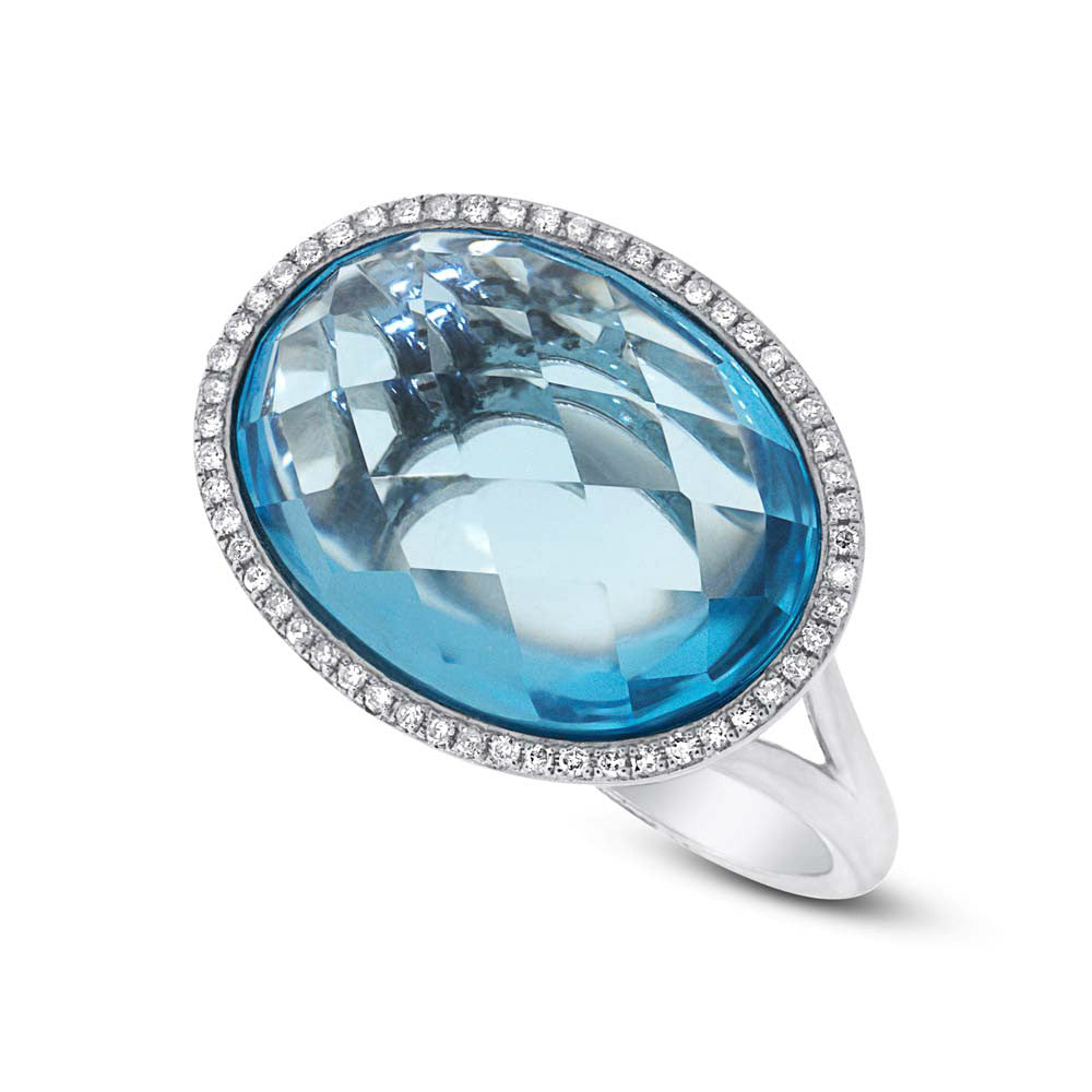 12 Carat Blue Topaz & Diamond Halo Ring