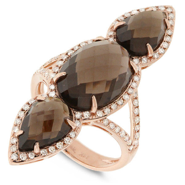 Smokey Topaz & Diamond Split Shank Ring 14k Rose Gold
