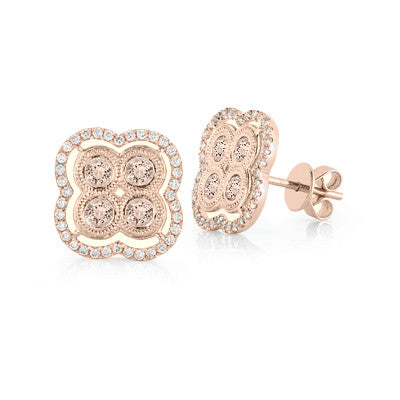 Morganite & Diamond Clover Stud Earrings