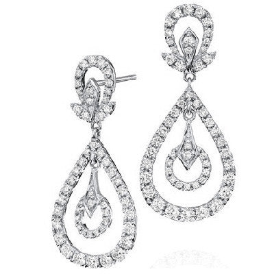 1.40 ct Diamond Pave Modern Drop Earrings