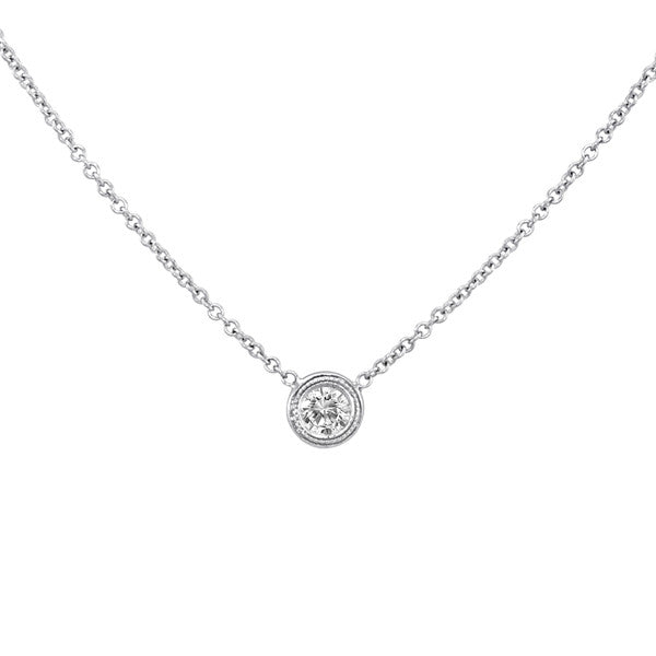 0.25 ct Diamond Bezel Milgrain Solitaire Necklace