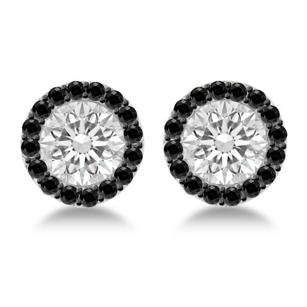 1 Carat Forever One Moissanite & Black Diamond Stud Earrings