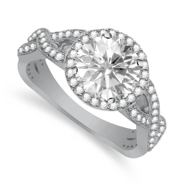 1.32 carat tw. Diamond Braided Halo Ring