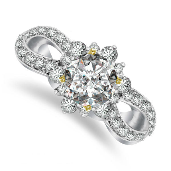 Flower Vintage Forever One Moissanite & Diamond Ring