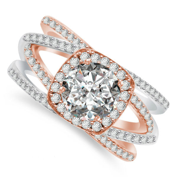 6.5mm Forever One Moissanite & Multi-Row Diamond Ring