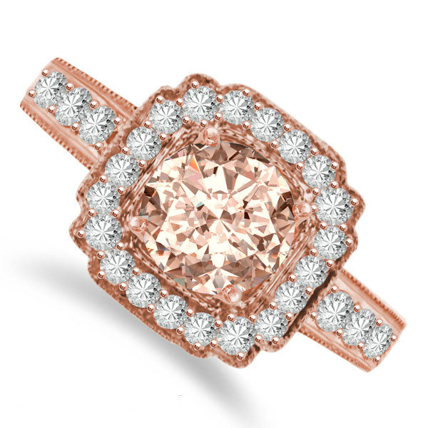 Vintage Style Morganite & Diamond Ring