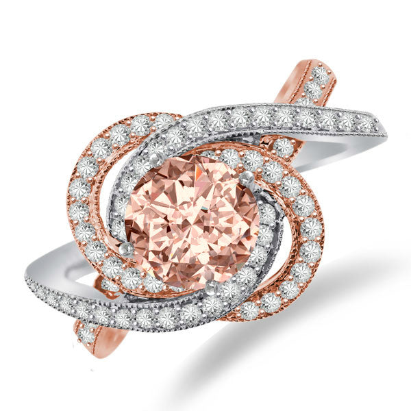 Morganite & Diamond Swirl Halo Engagement Ring 14k Two Tone