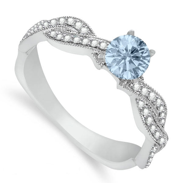 Aquamarine & Diamond Braided Ring