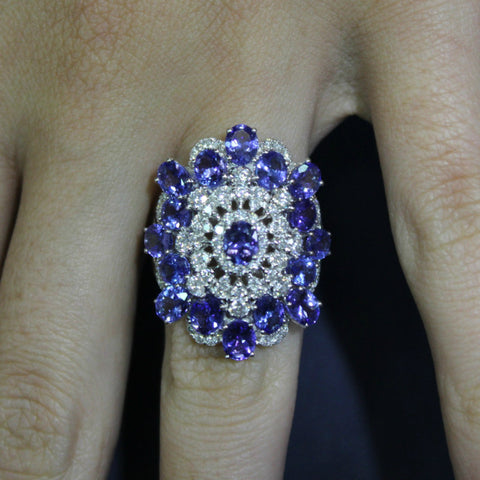 5.50 Carat Tanzanite & 1.32 Carat Diamond Cocktail Ring