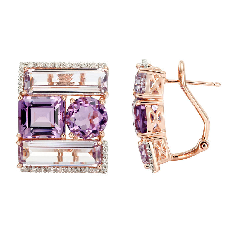 Multi-Shape Amethyst & Diamond Earrings