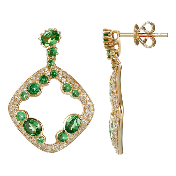 Tsavorite Garnet & Diamond Earrings