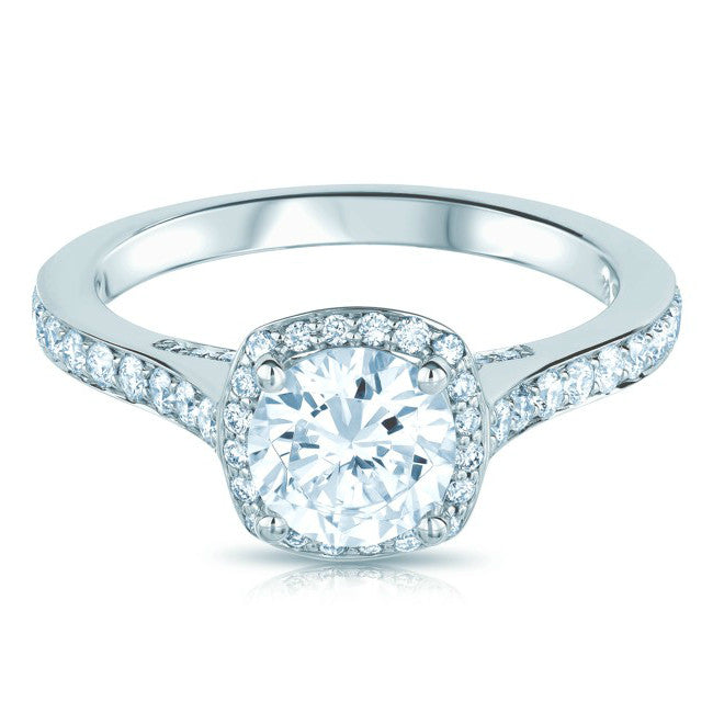 Forever One Moissanite & Diamond Cushion Halo Ring
