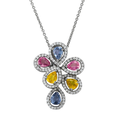 Blue, Pink & Yellow Sapphire & Diamond Halo Pendant