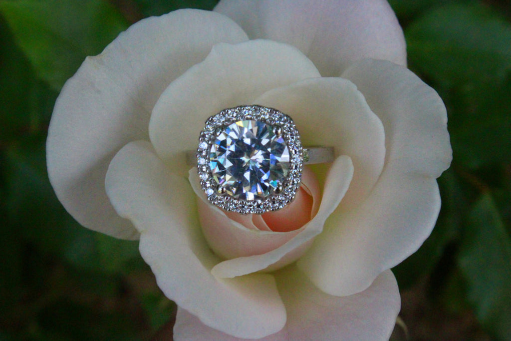 9mm Forever One Moissanite & Cushion Diamond Halo Ring
