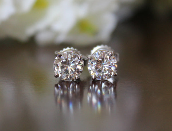 2 Carat Forever One Moissanite Stud Earrings 14k