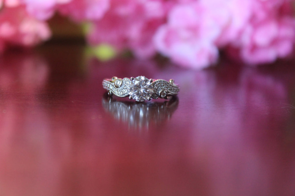 Forever One Moissanite Antique Style Diamond Engagement Ring